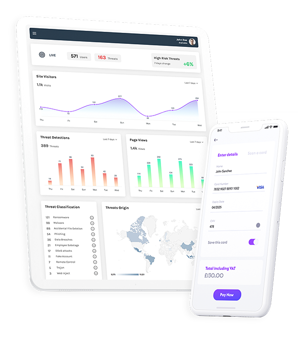 FraudLock360™ mobile and tablet dashboard layout