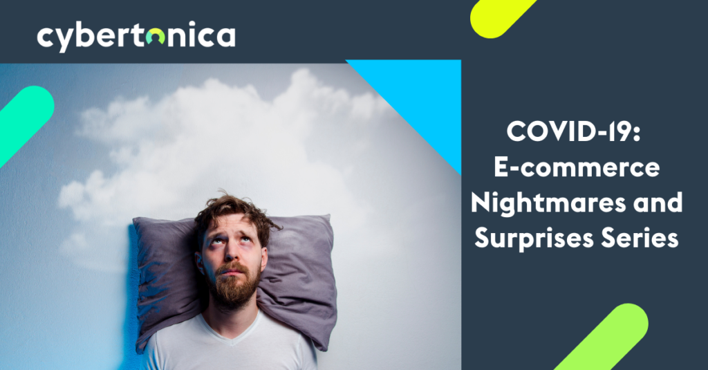 Covid19 E-commerce Nightmares and Surprises Cover image. A sad man with the follow looking up