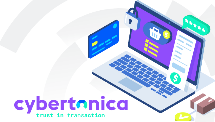 A laptop, credit card, cybersecurity -Cybertonica Trust in TransAction