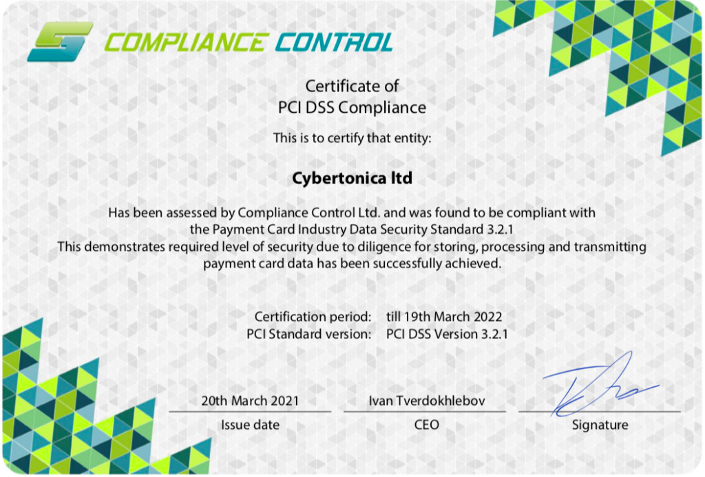 Cybertonica remains certified as a PCI DSS Level 1 Service Provider