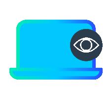 Behavioural biometrics automation icon use behavioural metrics to identify rogue actors with user trustworthiness scores.