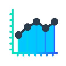 Increase revenue icon blue